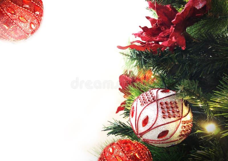 Χριστουγεννιάτικο δέντρο, λουλούδια, διακοσμήσεις, υπόβαθρο ελεύθερη απεικόνιση δικαιώματος
