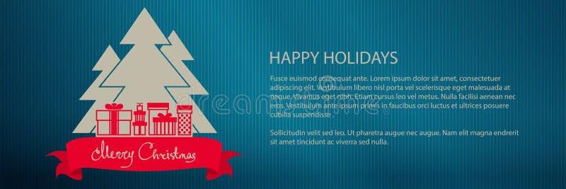 Χριστουγεννιάτικο δέντρο με τα δώρα, έμβλημα απεικόνιση αποθεμάτων