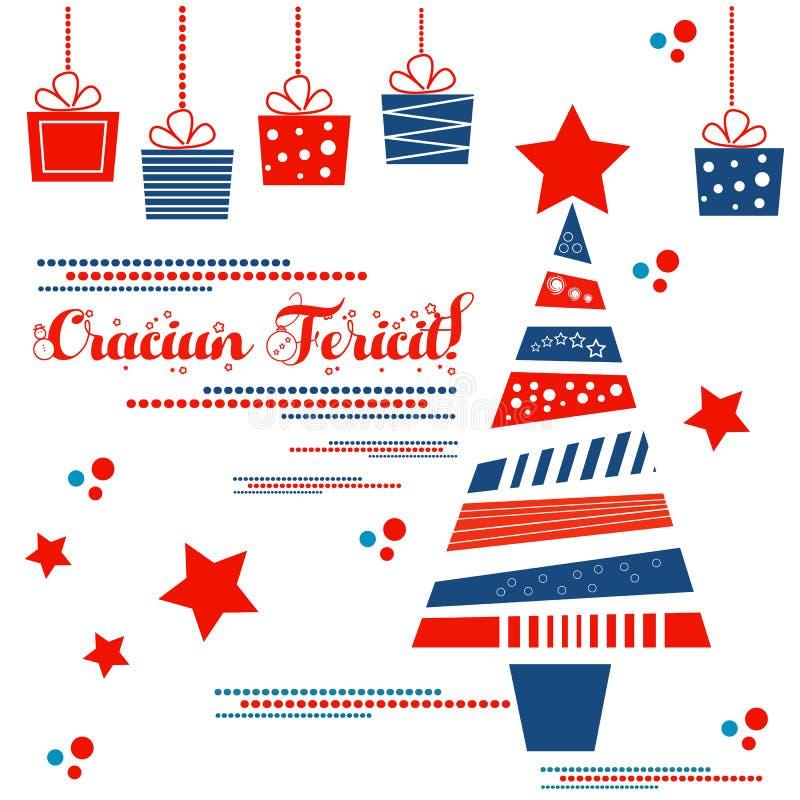 Χριστουγεννιάτικο δέντρο με τα δώρα και Χαρούμενα Χριστούγεννα στα ρουμάνικα Craciun Fericit! διανυσματική απεικόνιση