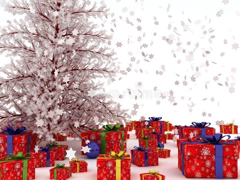 Χριστουγεννιάτικο δέντρο με τα μέρη των δώρων. στοκ φωτογραφία με δικαίωμα ελεύθερης χρήσης