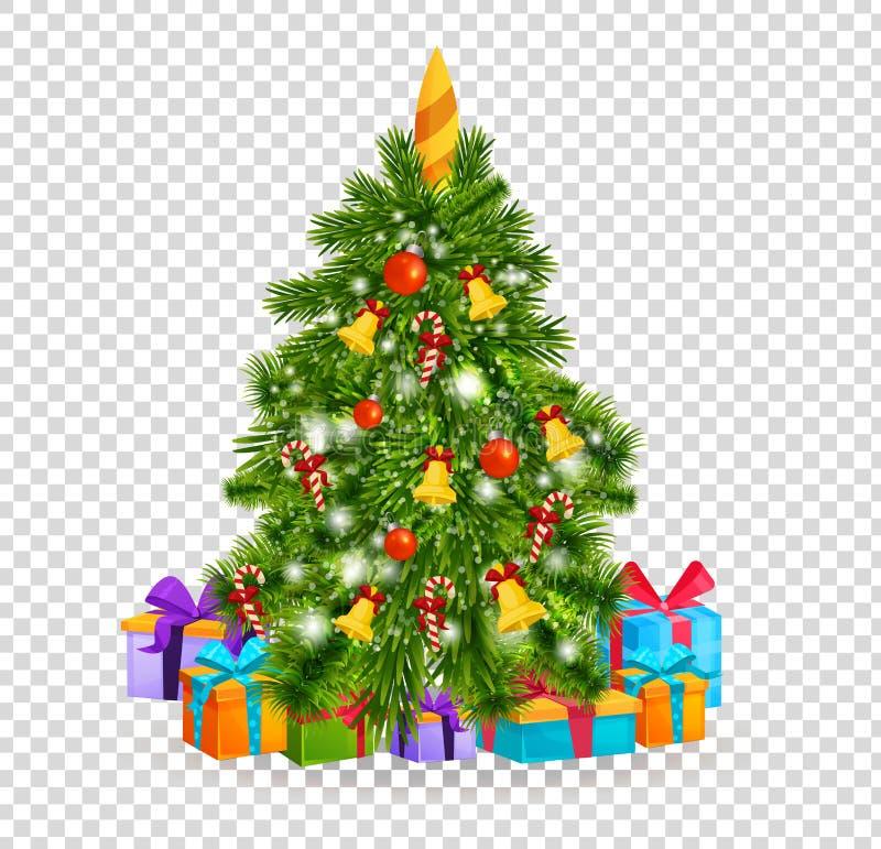 Χριστουγεννιάτικο δέντρο με τις όμορφες σφαίρες, διακοσμήσεις δέντρο δώρων Χριστουγέννων κάτω ελεύθερη απεικόνιση δικαιώματος
