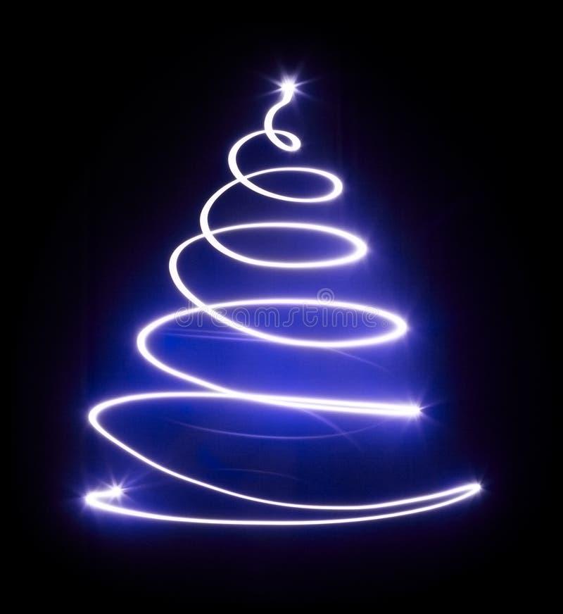 Χριστουγεννιάτικο δέντρο με το ελαφρύ και μπλε αστέρι. διανυσματική απεικόνιση