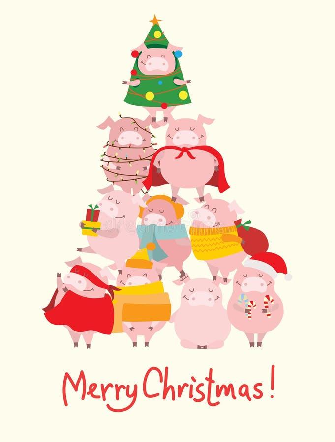 Χριστουγεννιάτικο δέντρο με το σύμβολο του έτους - κίτρινοι χοίροι ελεύθερη απεικόνιση δικαιώματος