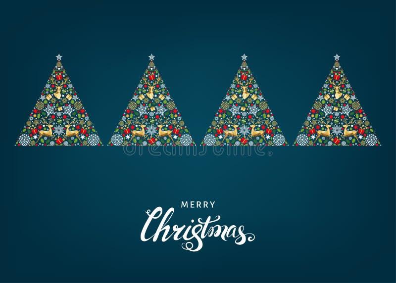 Χριστουγεννιάτικο δέντρο με το χρυσό τάρανδο Χριστουγέννων, δώρα, snowflakes ελεύθερη απεικόνιση δικαιώματος