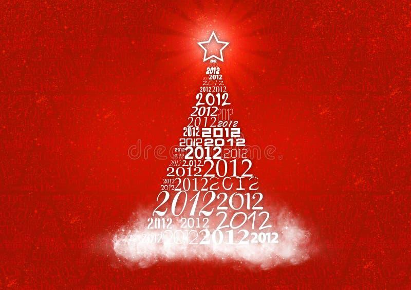 Χριστουγεννιάτικο δέντρο με 2012 κείμενα απεικόνιση αποθεμάτων