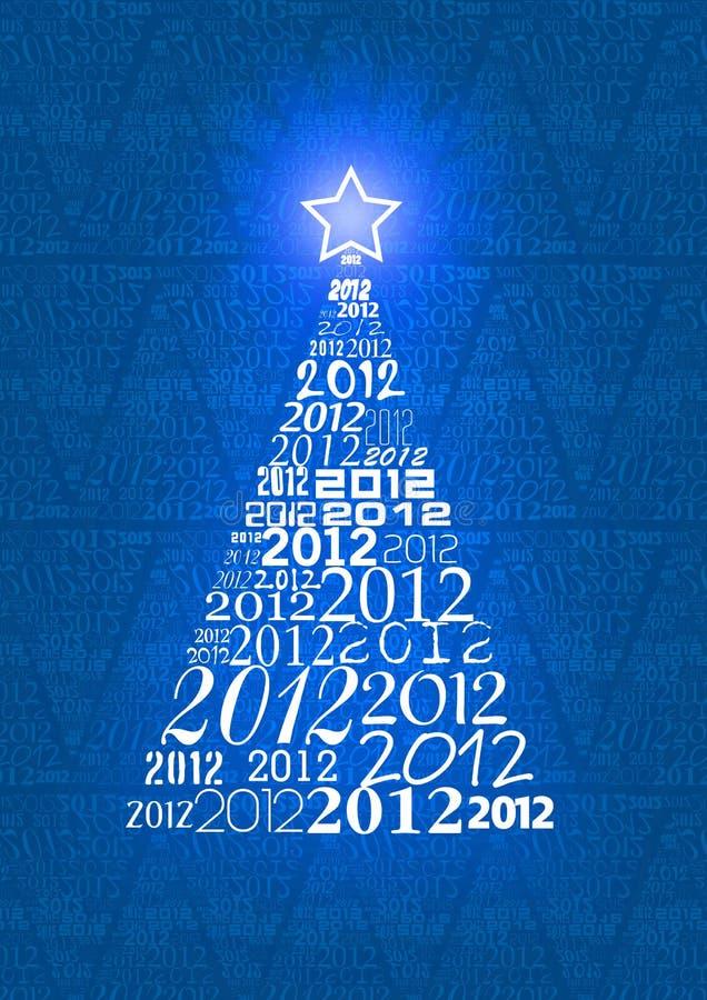 Χριστουγεννιάτικο δέντρο με 2012 κείμενα διανυσματική απεικόνιση