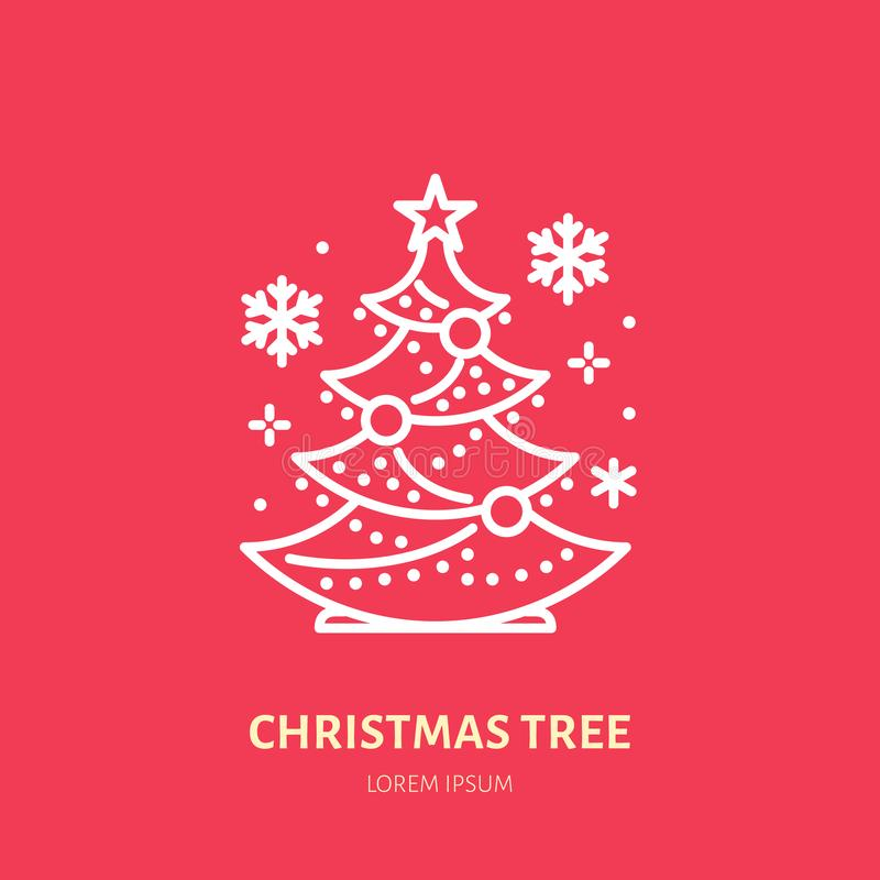 Χριστουγεννιάτικο δέντρο, πεύκο, νέο έτους εικονίδιο γραμμών διακοσμήσεων επίπεδο Διανυσματική απεικόνιση χειμερινών διακοπών, ση διανυσματική απεικόνιση