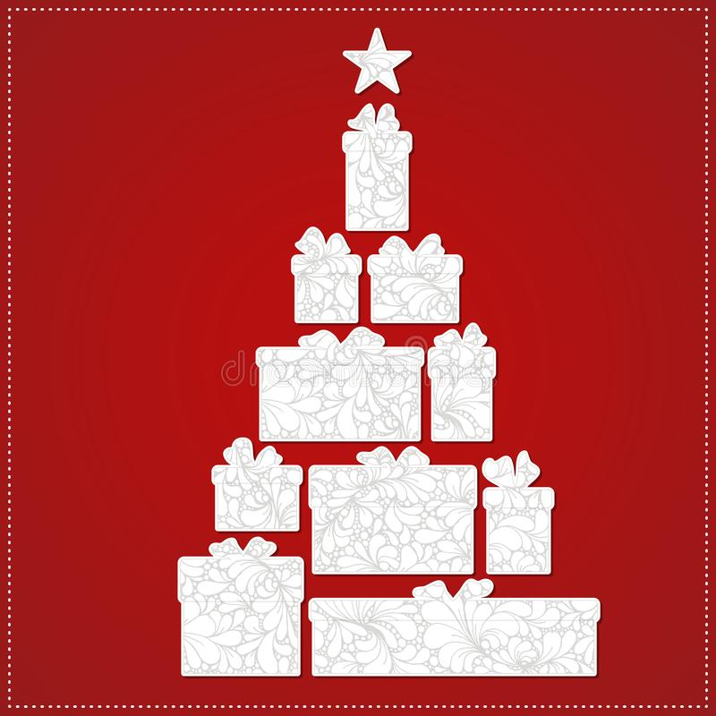 Χριστουγεννιάτικο δέντρο που γίνεται από το κιβώτιο και το τόξο δώρων στο κόκκινο υπόβαθρο Το λευκό παρουσιάζει με τη διακοσμητικ απεικόνιση αποθεμάτων