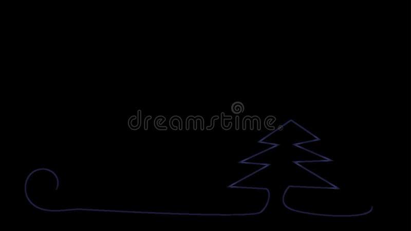 Χριστουγεννιάτικο δέντρο στα χρώματα νέου σε ένα μαύρο υπόβαθρο απεικόνιση αποθεμάτων