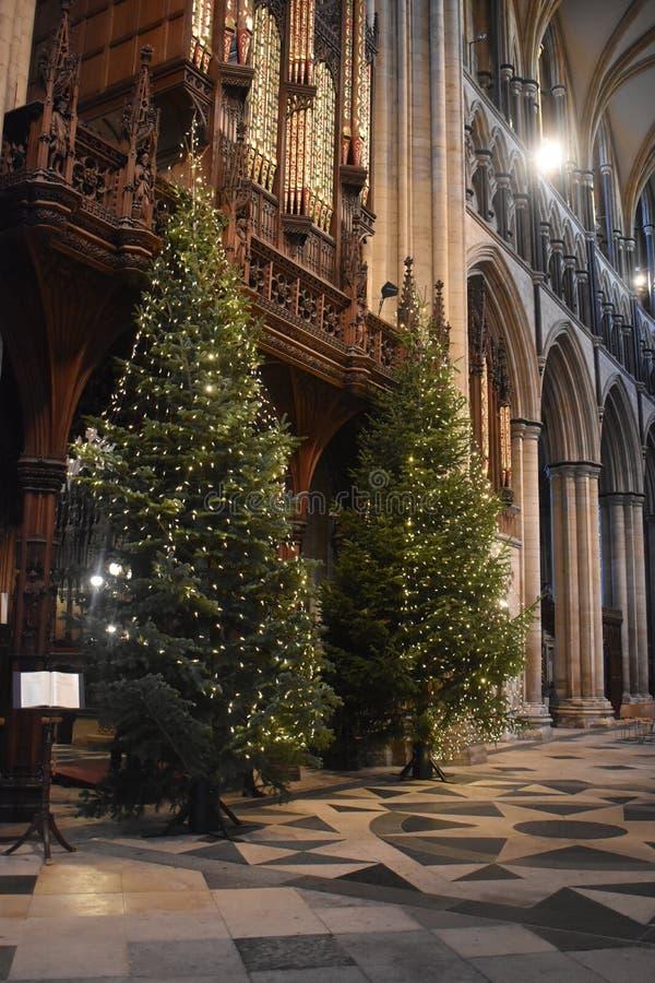 Χριστουγεννιάτικο δέντρο στον υπουργό Γιορκσάιρ Αγγλία της Beverley στοκ φωτογραφία