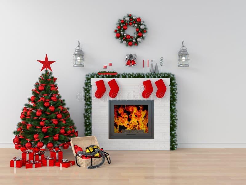 Χριστουγεννιάτικο δέντρο στο άσπρο δωμάτιο για το πρότυπο, τρισδιάστατη απόδοση στοκ φωτογραφία με δικαίωμα ελεύθερης χρήσης