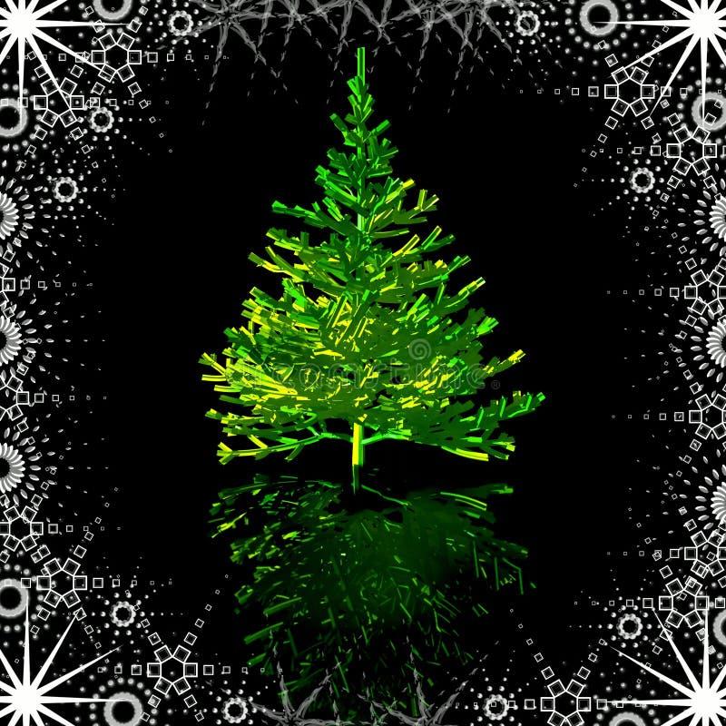 Χριστουγεννιάτικο δέντρο στο χιονώδες πλαίσιο διανυσματική απεικόνιση