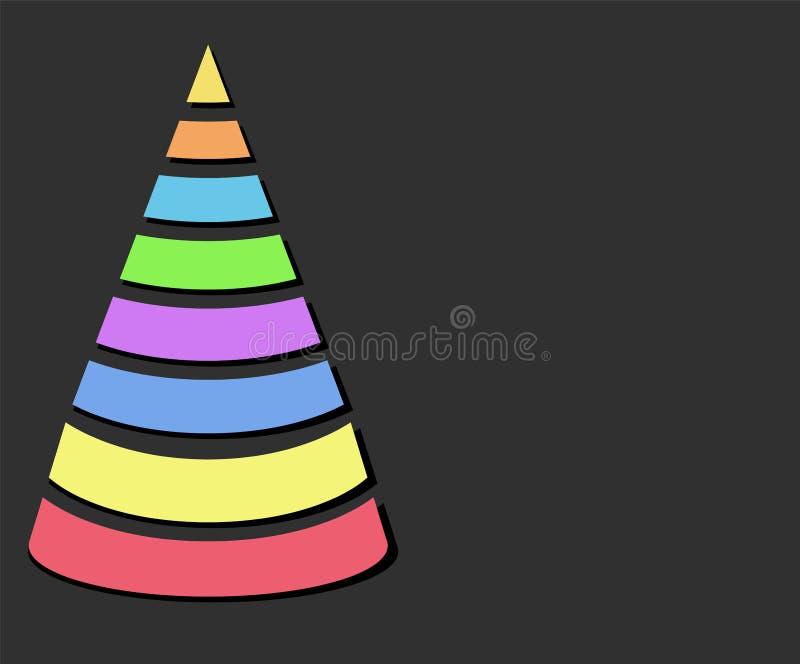Χριστουγεννιάτικο δέντρο σχεδίου χρώματος με τις λουρίδες πέρα από το σκοτεινό υπόβαθρο, εγώ ελεύθερη απεικόνιση δικαιώματος