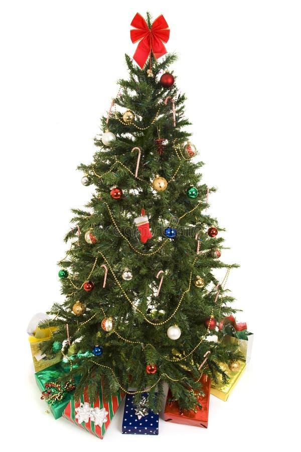 Χριστουγεννιάτικο δέντρο τα δώρα που απομονώνονται με στοκ εικόνα