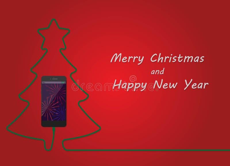 Χριστουγεννιάτικο δέντρο της χρέωσης του κινητού τηλεφώνου Τηλεφωνική κάρτα ενεργειακών κυττάρων καλής χρονιάς Εύθυμη έννοια Χρισ απεικόνιση αποθεμάτων
