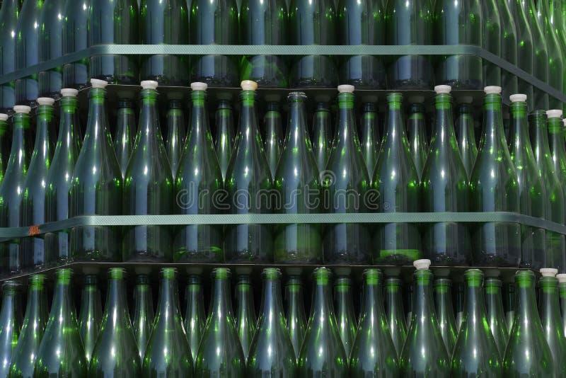 Χριστουγεννιάτικο δέντρο των μπουκαλιών της σαμπάνιας Δημιουργικός από τα μπουκάλια Κενά μπουκάλια της σαμπάνιας στοκ εικόνες με δικαίωμα ελεύθερης χρήσης