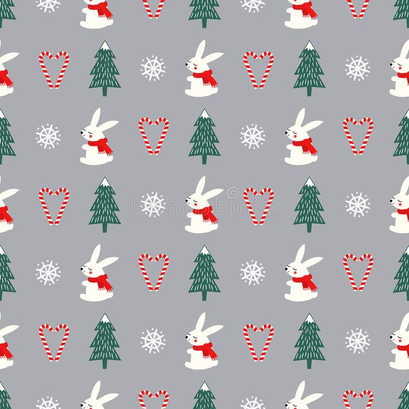 Χριστουγεννιάτικο δέντρο, snowflakes, κουνέλι, άνευ ραφής σχέδιο καρδιών καλάμων καραμελών στο γκρίζο υπόβαθρο διανυσματική απεικόνιση