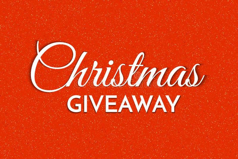 Χριστουγεννιάτικο δώρο - πρότυπο πανό Χριστουγεννιάτικη φράση Giveaway σε κόκκινο φόντο ελεύθερη απεικόνιση δικαιώματος