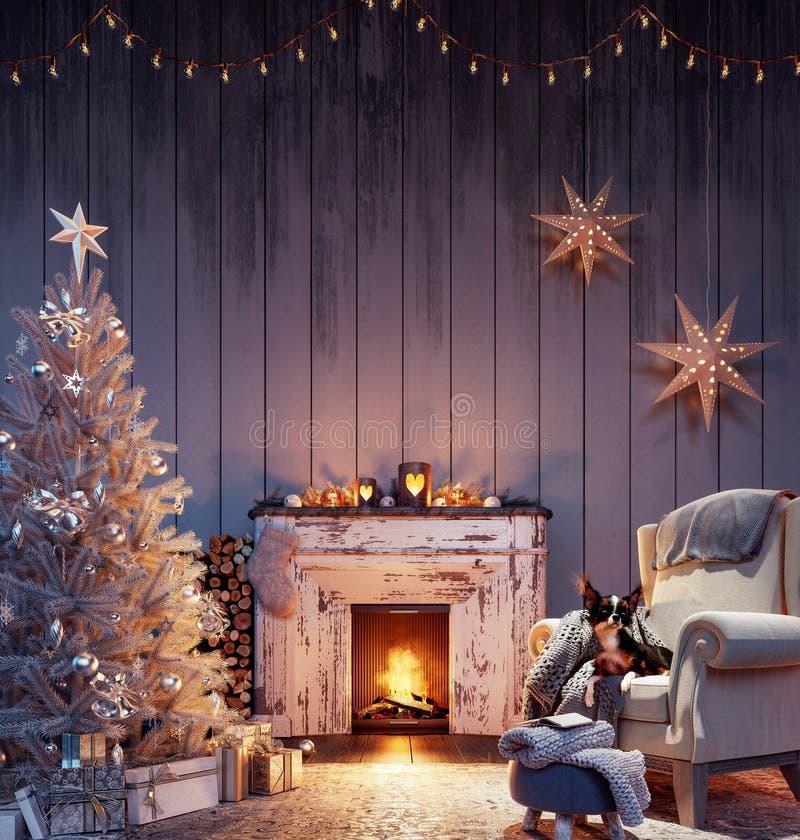 Χριστουγεννιάτικο εσωτερικό με λευκό χριστουγεννιάτικο δέντρο διακόσμηση και κάψιμο τζάκι στοκ φωτογραφία