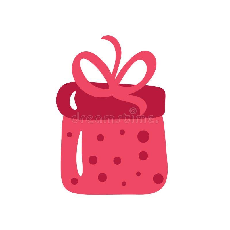 Χριστουγεννιάτικο κόκκινο κουτί με κορδέλα και φιόγκο Εμφάνιση σκανδιναβικού στυλ διανύσματος απομονωμένο σε λευκό φόντο διανυσματική απεικόνιση