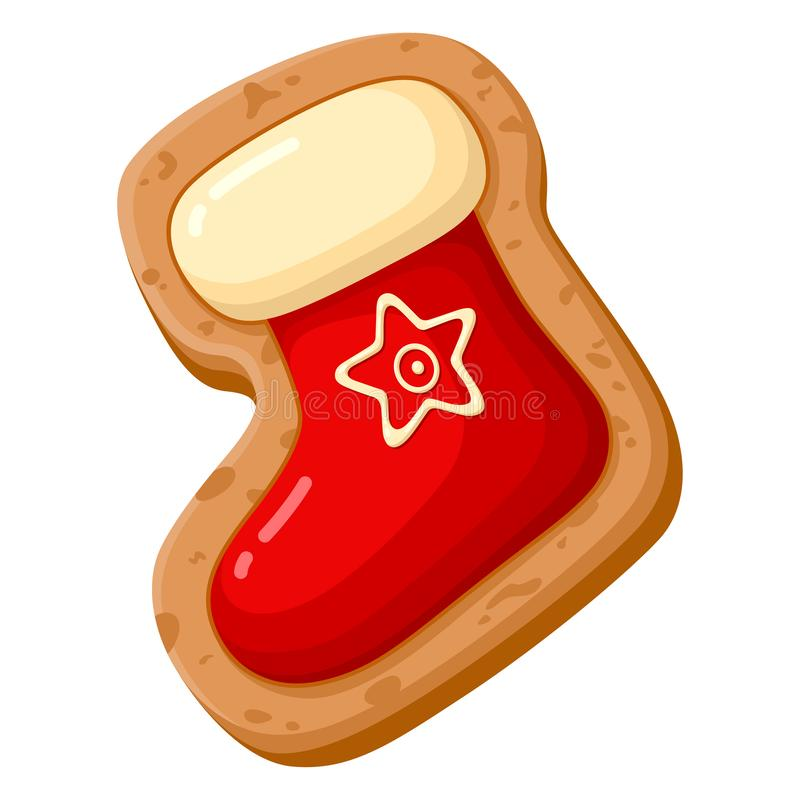 Χριστουγεννιάτικο μπισκότο, γλυκό κόκκινο διακοσμημένο ψωμί διανυσματική απεικόνιση