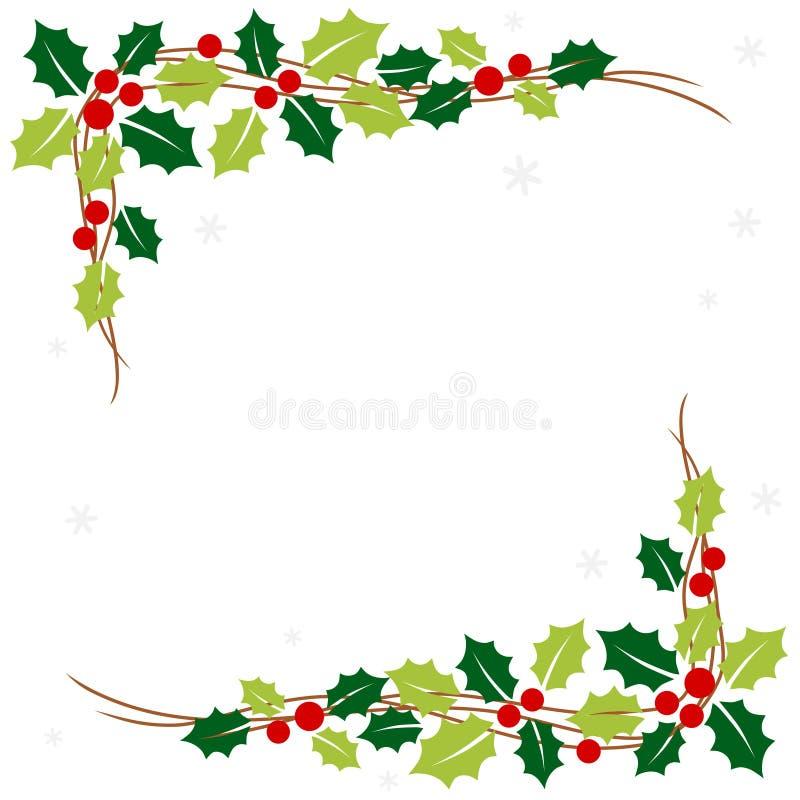 Χριστουγεννιάτικο πλαίσιο με φύλλα χόλι ελεύθερη απεικόνιση δικαιώματος