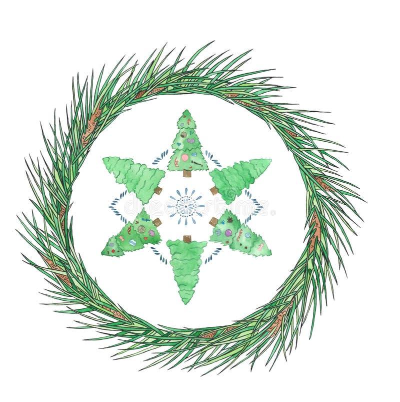 Χριστουγεννιάτικο στεφάνι με μικρά πεύκα Εμφάνιση κάρτας για το νέο έτος Σχεδίαση αργιών στοκ φωτογραφία με δικαίωμα ελεύθερης χρήσης