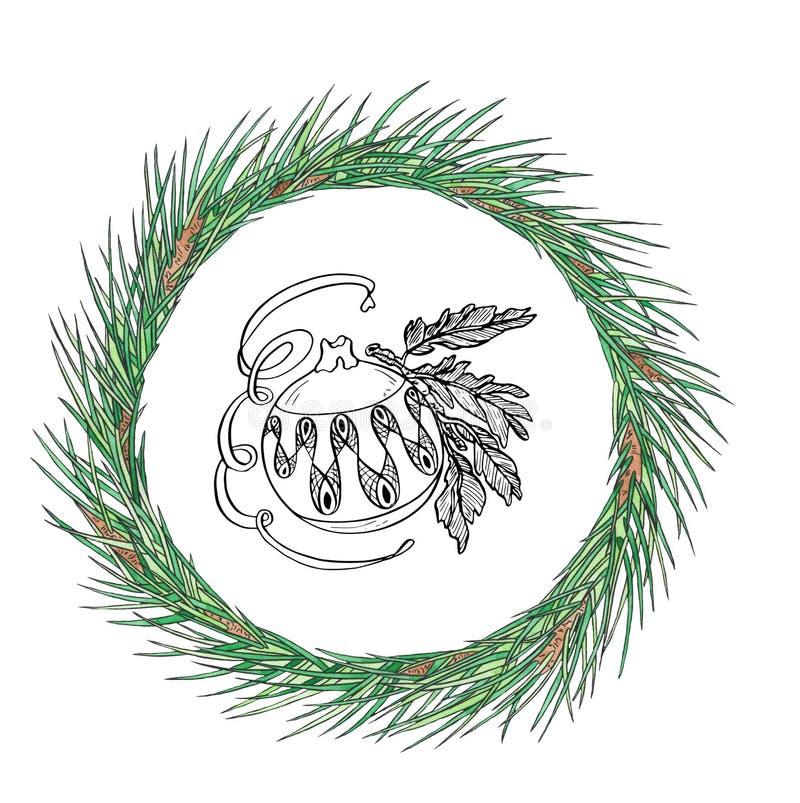 Χριστουγεννιάτικο στεφάνι με μπάλα σε ένα κλαδί Εμφάνιση κάρτας για το νέο έτος Σχεδίαση αργιών στοκ φωτογραφία