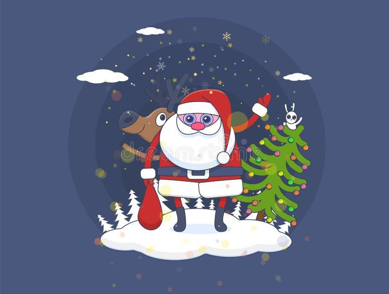 Χριστούγεννα Άγιος Βασίλης με τα ελάφια φίλων και έναν λαγό σε ένα διακοσμημένο χριστουγεννιάτικο δέντρο ελεύθερη απεικόνιση δικαιώματος
