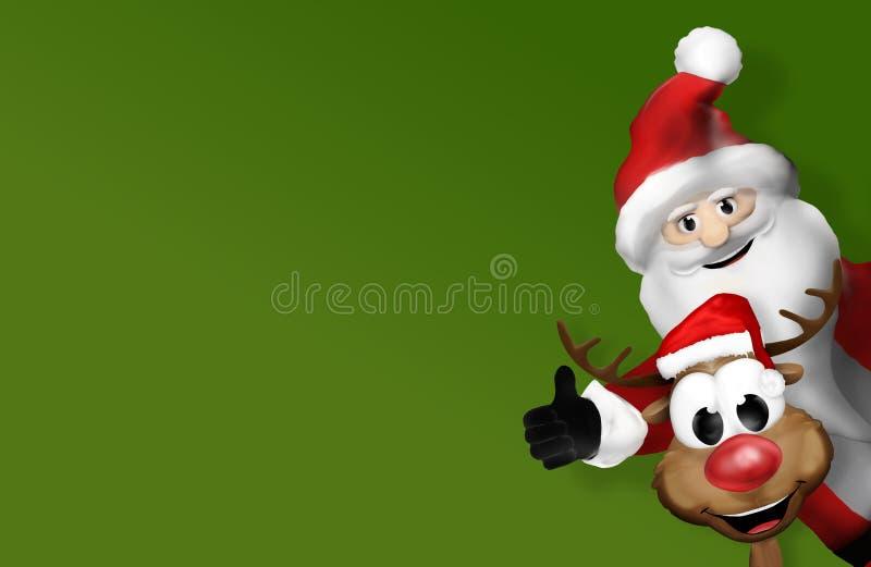 Χριστούγεννα Άγιος Βασίλης και τάρανδος τρισδιάστατος απεικόνιση αποθεμάτων