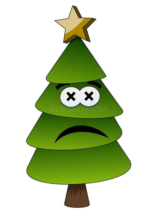 Χριστούγεννα ή λυπημένος ή δυστυχισμένος άνθρωπος χαρακτήρα κινουμένων σχεδίων χριστουγεννιάτικων δέντρων που απομονώνεται ελεύθερη απεικόνιση δικαιώματος
