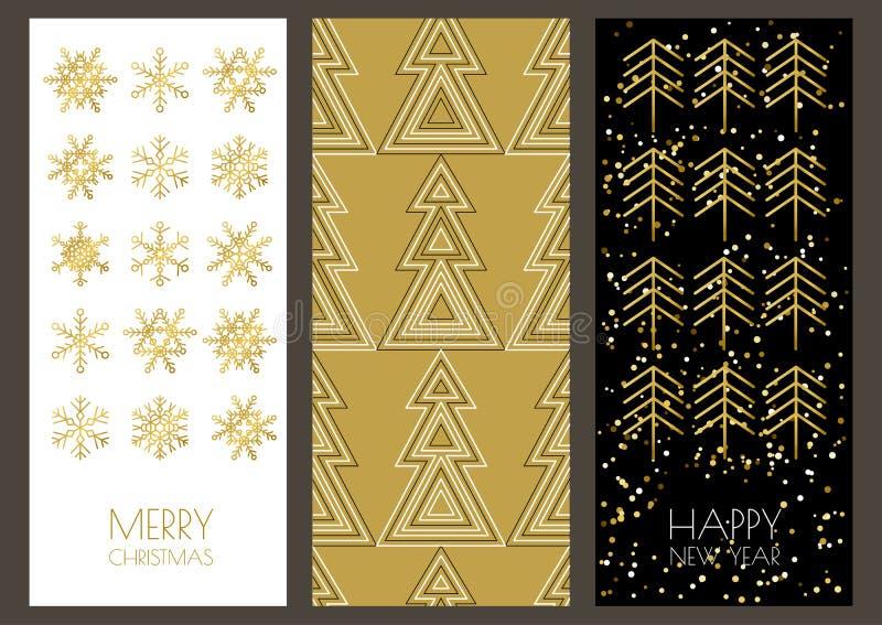 Χριστούγεννα ή νέες ευχετήριες κάρτες έτους που τίθενται με το χρυσό sno περιλήψεων ελεύθερη απεικόνιση δικαιώματος