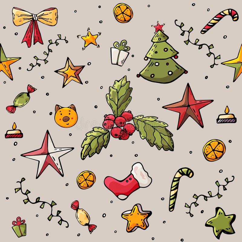 Χριστούγεννα ή νέο διανυσματικό άνευ ραφής σχέδιο έτους background colors holiday red yellow σύσταση για το έμβλημα, αφίσα, ιπτάμ απεικόνιση αποθεμάτων