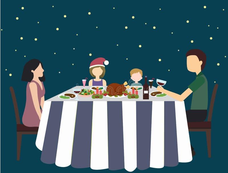 Χριστούγεννα ή νέο υπόβαθρο έτους με τον ευτυχή οικογενειακό εορτασμό στον πίνακα απεικόνιση αποθεμάτων