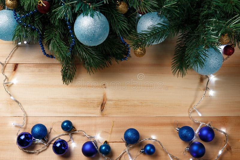 Χριστούγεννα ή νέο υπόβαθρο διακοσμήσεων έτους στοκ φωτογραφίες