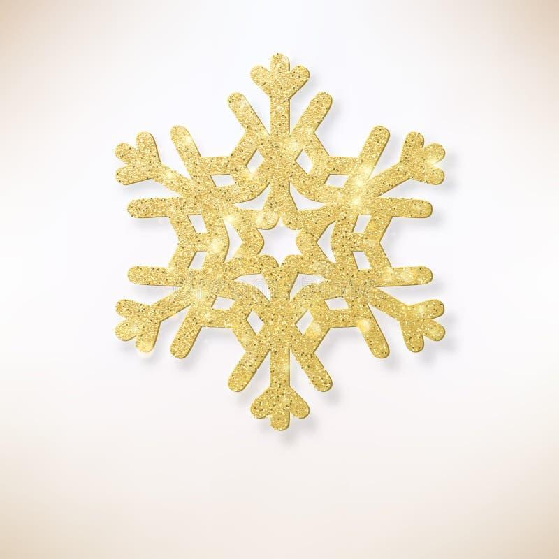 Χριστούγεννα ανασκόπησης κομψά Χρυσή λάμποντας νιφάδα χιονιού Χριστουγέννων 10 eps διανυσματική απεικόνιση