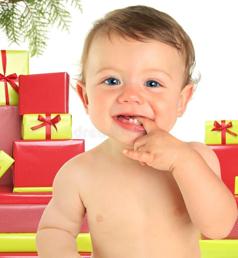 Χριστούγεννα ανασκόπησης μωρών που απομονώνονται πέρα από το λευκό στοκ φωτογραφίες