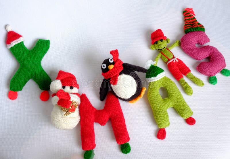 Χριστούγεννα, αλφάβητο Χριστουγέννων, χειροποίητος, πλεκτό, noel δώρο στοκ εικόνα