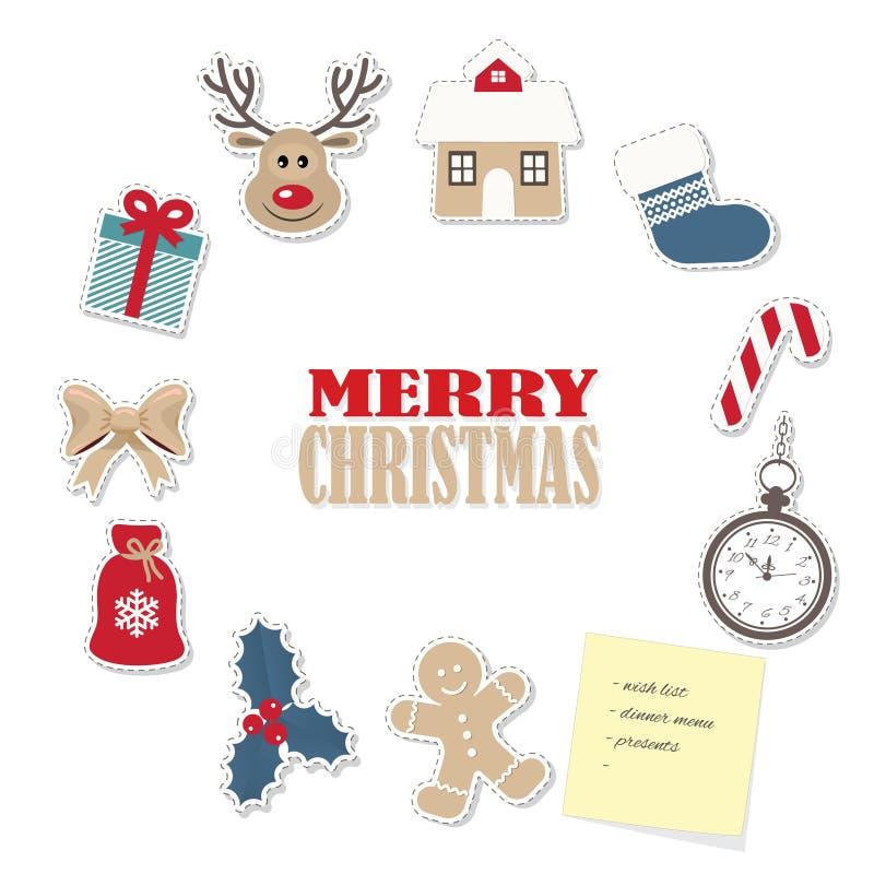 Χριστούγεννα γύρω από το πρότυπο πλαισίων από τις διαφορετικές αυτοκόλλητες ετικέττες διακοπής εγγράφου ελεύθερη απεικόνιση δικαιώματος