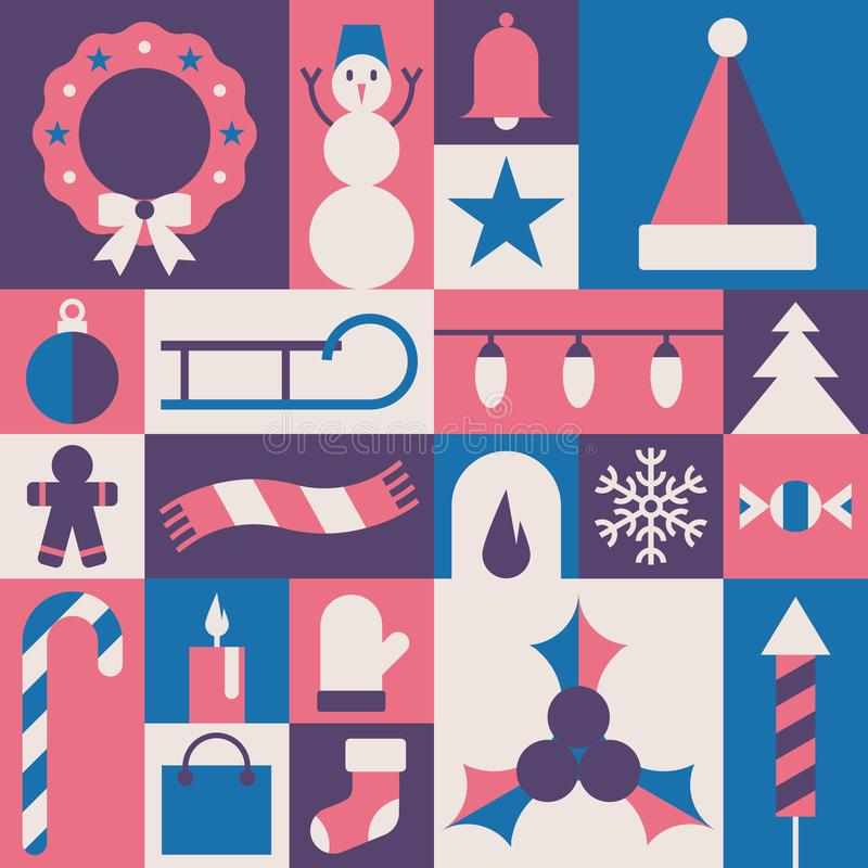 Χριστούγεννα, διανυσματική επίπεδη απεικόνιση, σύνολο εικονιδίων απεικόνιση αποθεμάτων