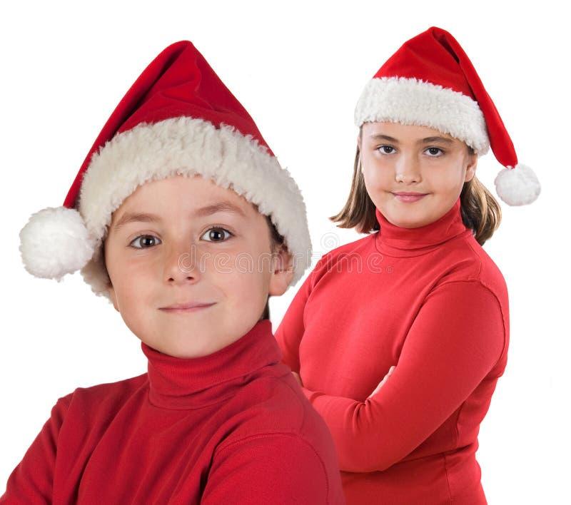 Χριστούγεννα δύο παιδιών &Kappa στοκ εικόνα με δικαίωμα ελεύθερης χρήσης