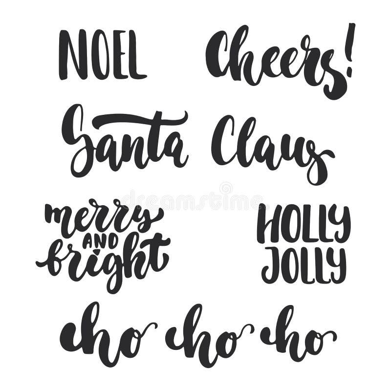 Χριστούγεννα εγγραφής και νέες επικαλύψεις φωτογραφιών φράσεων καλλιγραφίας διακοπών έτους καθορισμένες απομονωμένα στο άσπρο υπό διανυσματική απεικόνιση