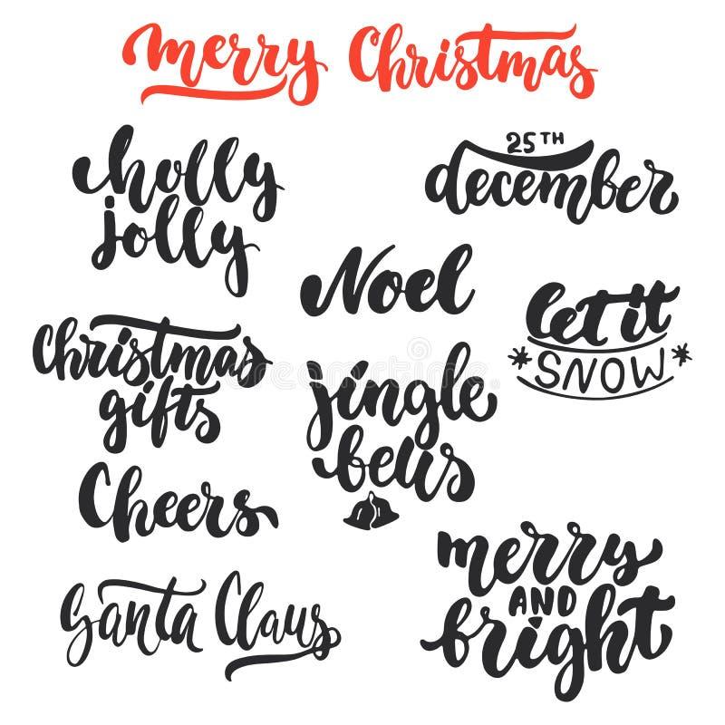 Χριστούγεννα εγγραφής και νέες επικαλύψεις φωτογραφιών φράσεων καλλιγραφίας διακοπών έτους καθορισμένες απομονωμένα στο άσπρο υπό ελεύθερη απεικόνιση δικαιώματος