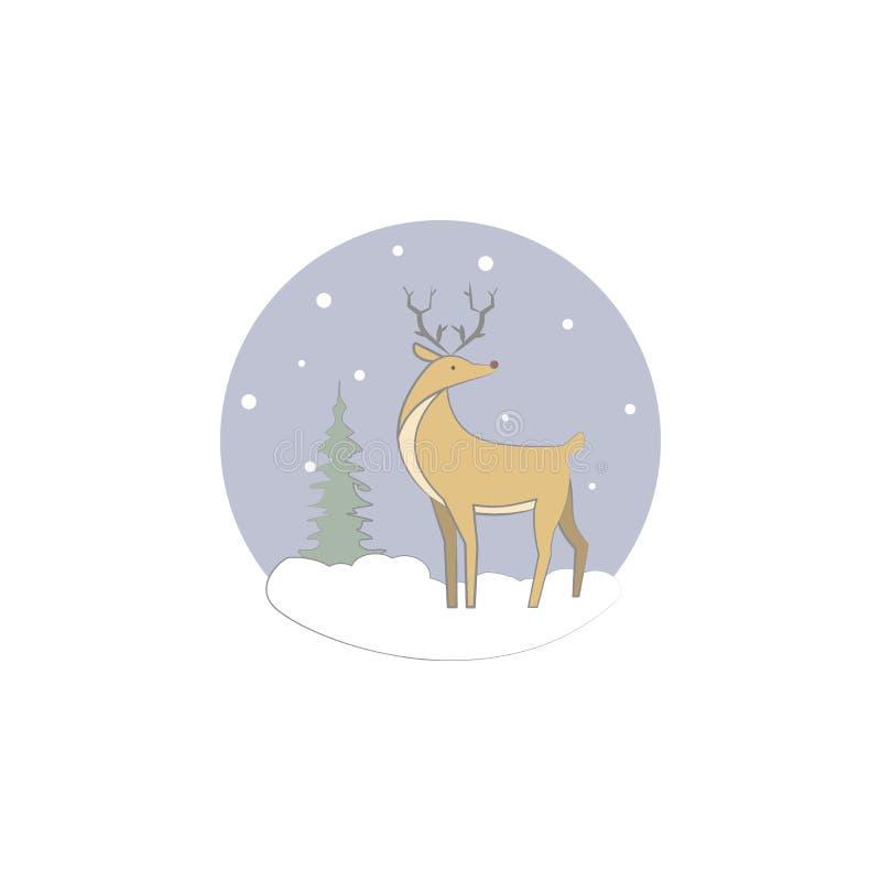 Χριστούγεννα, ελάφια, εικονίδιο ταράνδων Στοιχείο των Χριστουγέννων για την κινητούς έννοια και τον Ιστό apps Χρωματισμένα Χριστο ελεύθερη απεικόνιση δικαιώματος