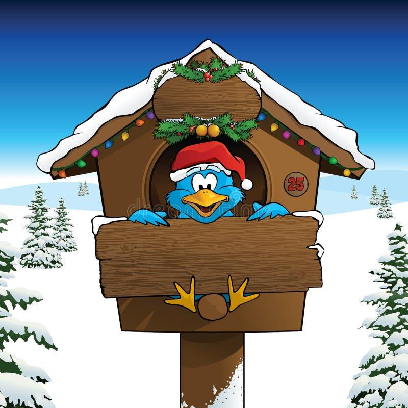 Download Χριστούγεννα εορτασμού Bluebird σε ένα χειμερινό τοπίο Διανυσματική απεικόνιση - εικονογραφία από κάρτα, διακοσμήσεις: 62701957