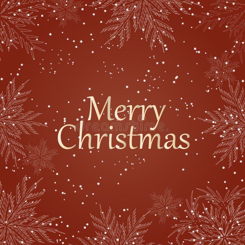 Χριστούγεννα εύθυμα Άσπρο κείμενο με snowflakes στο κόκκινο υπόβαθρο Τυπογραφία διακοπών Χριστουγέννων διάνυσμα απεικόνιση αποθεμάτων