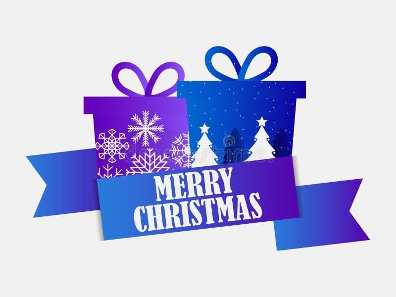 Χριστούγεννα εύθυμα Έμβλημα φεστιβάλ με το κιβώτιο δώρων και κορδέλλα στο άσπρο υπόβαθρο μπλε πορφύρα κλίσης διάνυσμα απεικόνιση αποθεμάτων