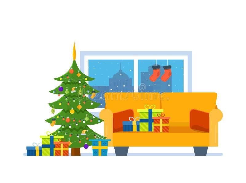Χριστούγεννα εύθυμα Ατμόσφαιρα του νέου έτους, έπιπλα για τη χαλάρωση απεικόνιση αποθεμάτων