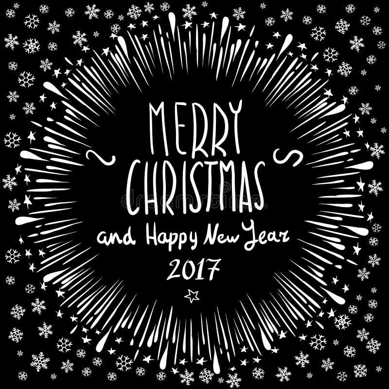 Χριστούγεννα εύθυμα Διανυσματική απεικόνιση διακοπών Σύνθεση εγγραφής με τη Χαρούμενα Χριστούγεννα και καλή χρονιά 2017 ελαφριών  απεικόνιση αποθεμάτων