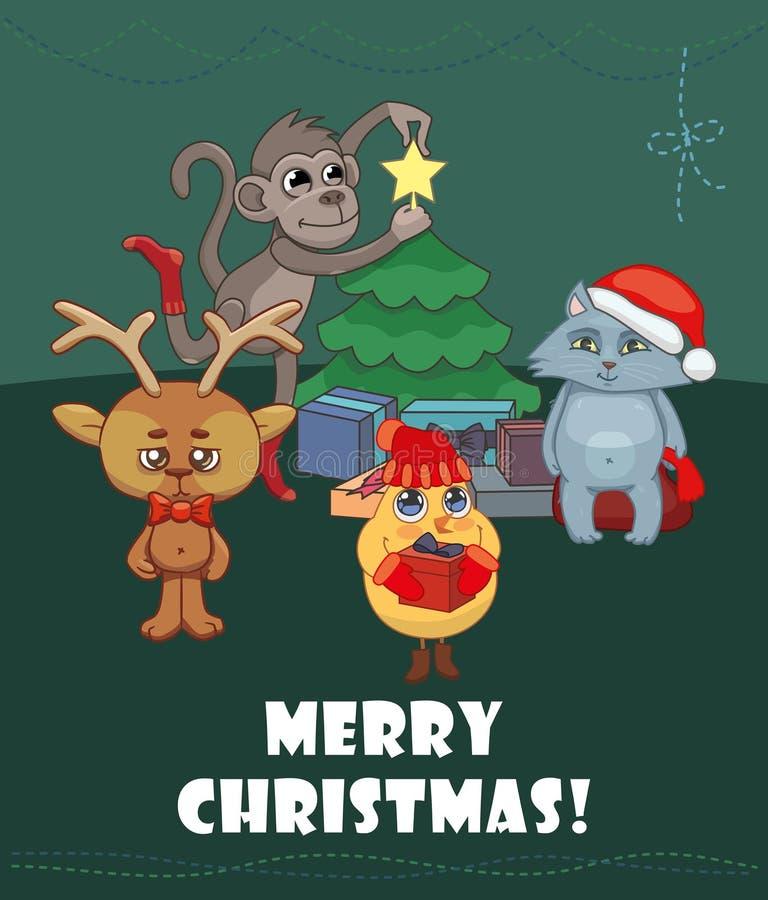 Χριστούγεννα εύθυμα Ελάφια, κοτόπουλο, γατάκι, πίθηκος απεικόνιση αποθεμάτων